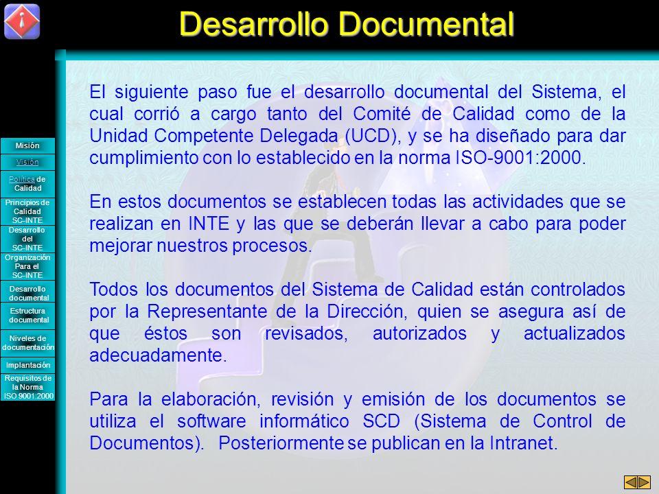 El siguiente paso fue el desarrollo documental del Sistema, el cual corrió a cargo tanto del Comité de Calidad como de la Unidad Competente Delegada (UCD), y se ha diseñado para dar cumplimiento con lo establecido en la norma ISO-9001:2000.