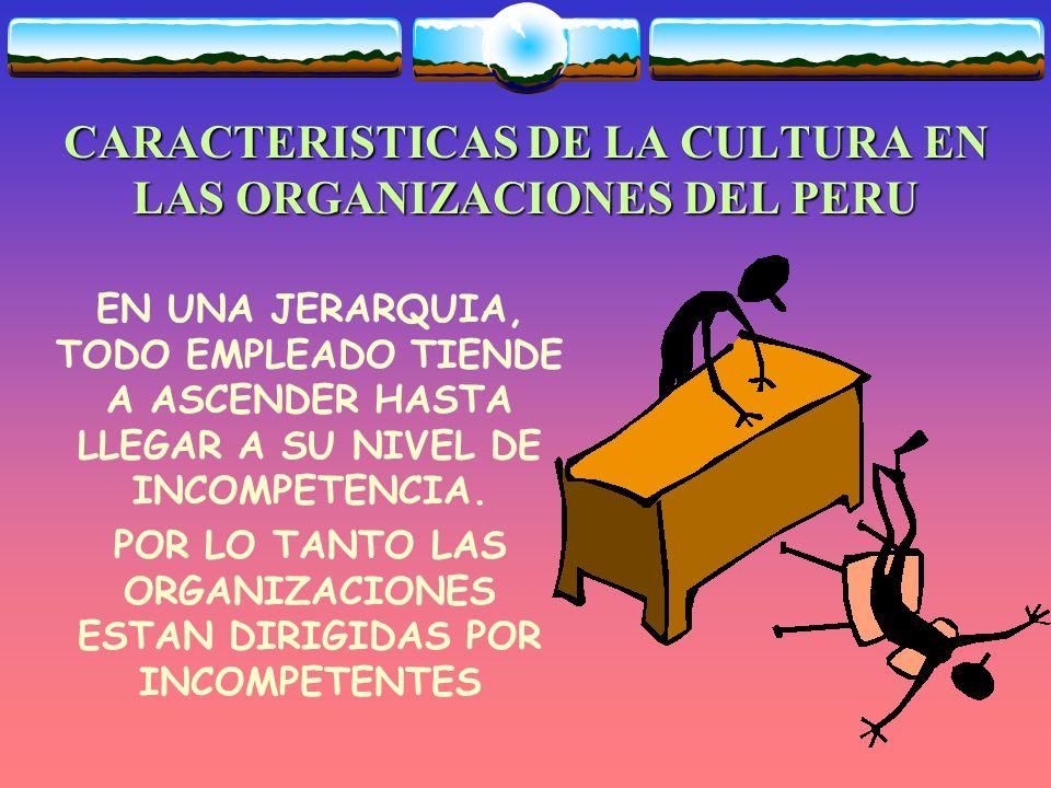 CARACTERISTICAS DE LA CULTURA EN LAS ORGANIZACIONES DEL PERU EN NUESTRAS ORGANIZACIONES, MUCHAS PERSONAS CREEN QUE EL MUNDO GIRA A SU ALREDEDOR, SOLO SE DAN CUENTA QUE NO ES CIERTO, CUANDO LLEGA LA OSCURIDAD Y LA SOLEDAD DE LA NOCHE.