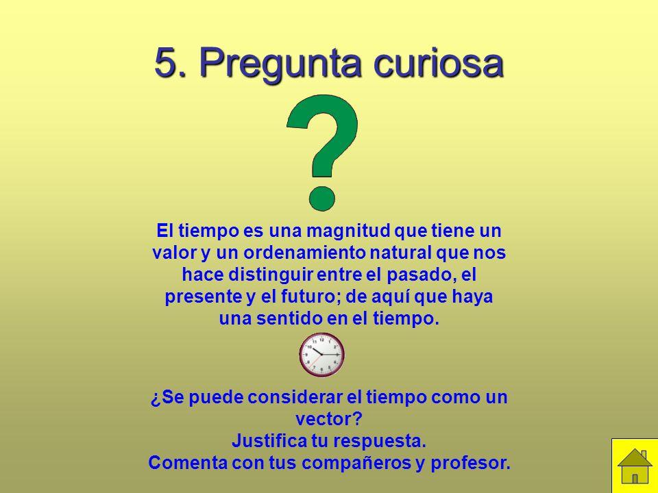 5. Pregunta curiosa El tiempo es una magnitud que tiene un valor y un ordenamiento natural que nos hace distinguir entre el pasado, el presente y el f
