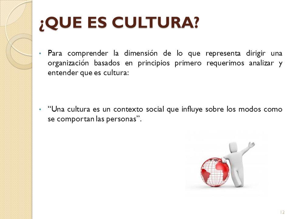 Para comprender la dimensión de lo que representa dirigir una organización basados en principios primero requerimos analizar y entender que es cultura: Una cultura es un contexto social que influye sobre los modos como se comportan las personas.