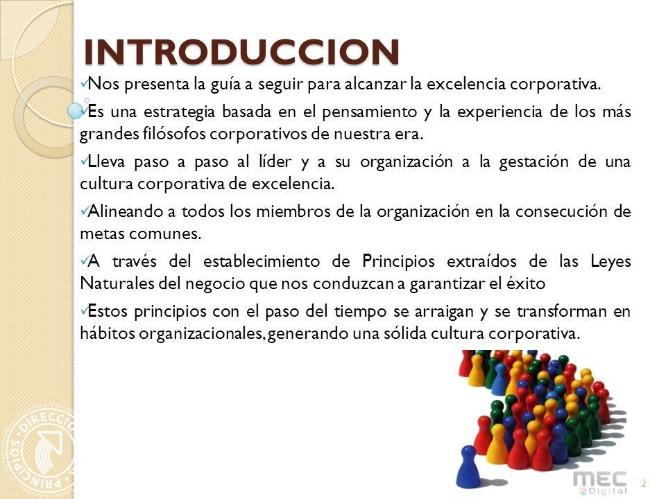 INTRODUCCION Nos presenta la guía a seguir para alcanzar la excelencia corporativa.