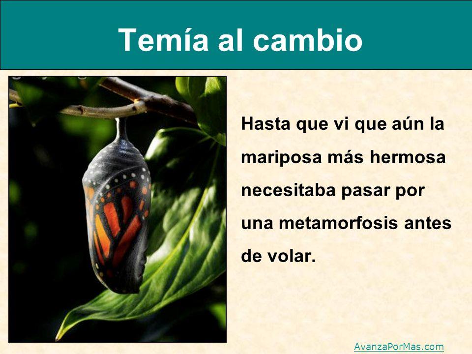 Temía al cambio Hasta que vi que aún la mariposa más hermosa necesitaba pasar por una metamorfosis antes de volar. AvanzaPorMas.com