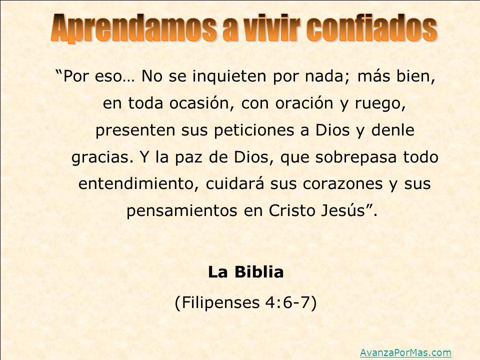 Por eso… No se inquieten por nada; más bien, en toda ocasión, con oración y ruego, presenten sus peticiones a Dios y denle gracias. Y la paz de Dios,