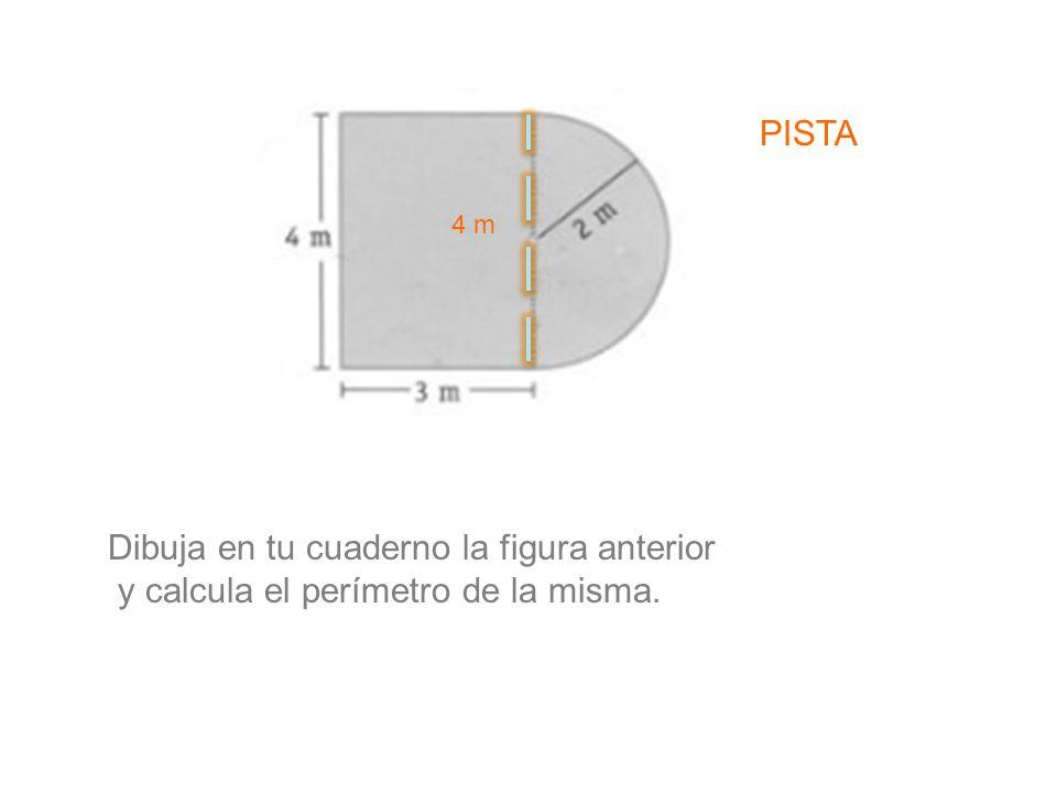 Dibuja en tu cuaderno la figura anterior y calcula el perímetro de la misma. PISTA 4 m