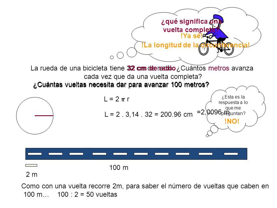 La rueda de una bicicleta tiene 32 cm de radio.