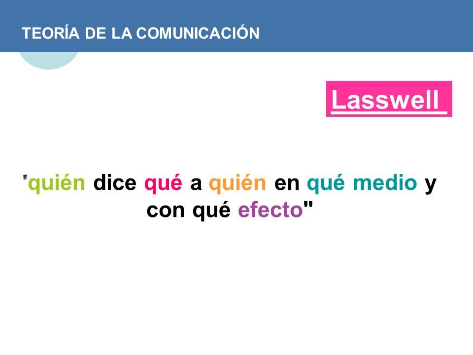 TEORÍA DE LA COMUNICACIÓN Lasswell