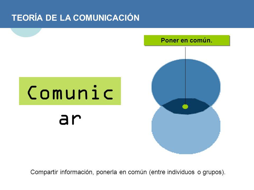 TEORÍA DE LA COMUNICACIÓN Comunic ar Poner en común. Compartir información, ponerla en común (entre individuos o grupos).