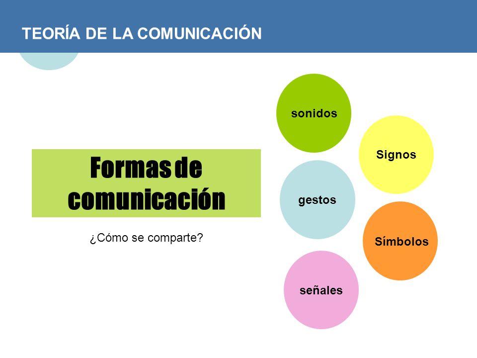 TEORÍA DE LA COMUNICACIÓN Formas de comunicación ¿Cómo se comparte? sonidos gestos señales Signos Símbolos