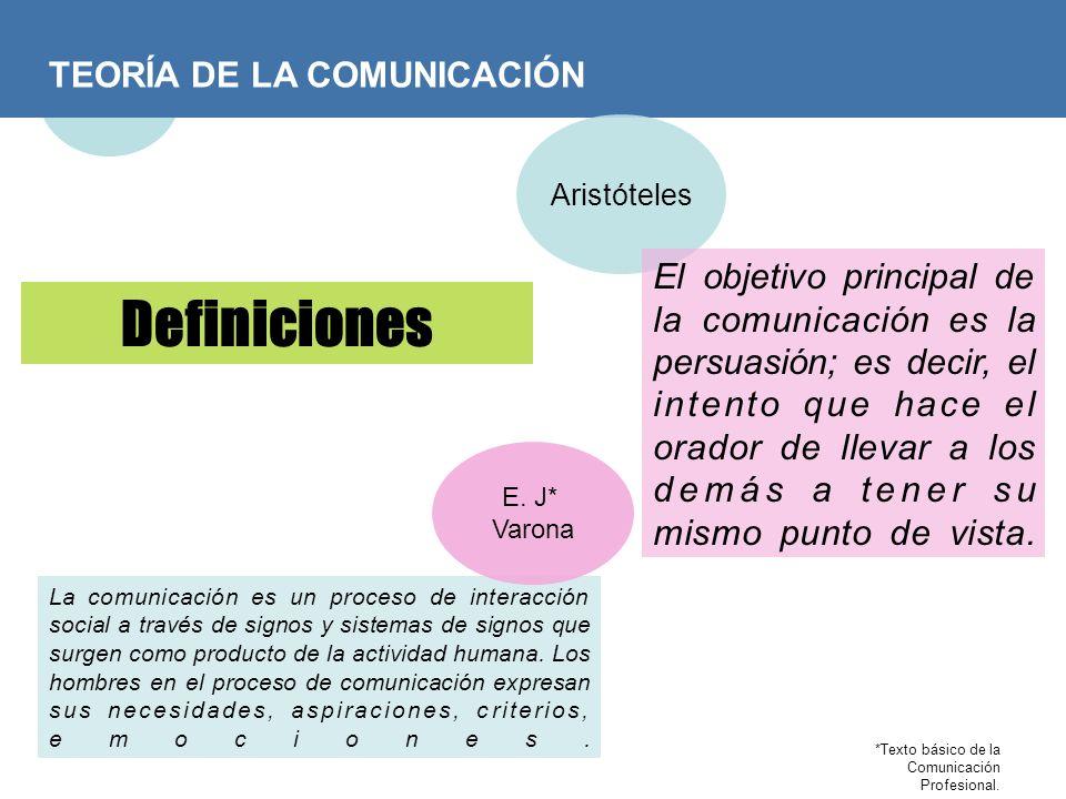 TEORÍA DE LA COMUNICACIÓN Definiciones Aristóteles El objetivo principal de la comunicación es la persuasión; es decir, el intento que hace el orador