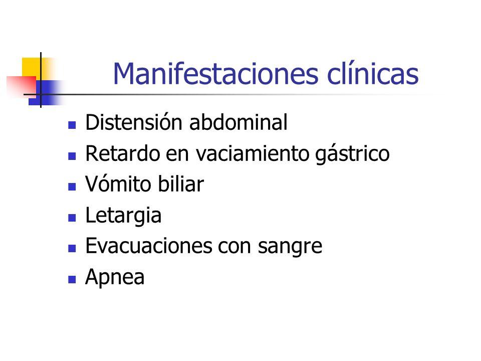 Manifestaciones clínicas Distensión abdominal Retardo en vaciamiento gástrico Vómito biliar Letargia Evacuaciones con sangre Apnea