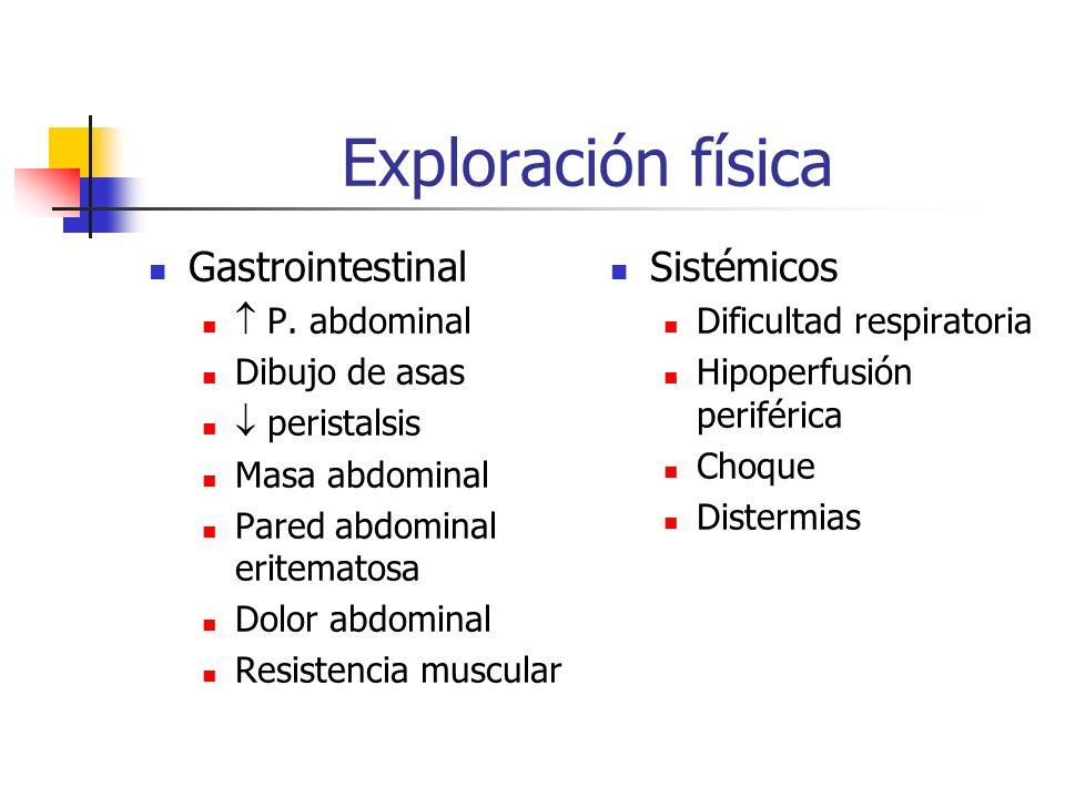 Exploración física Gastrointestinal P. abdominal Dibujo de asas peristalsis Masa abdominal Pared abdominal eritematosa Dolor abdominal Resistencia mus