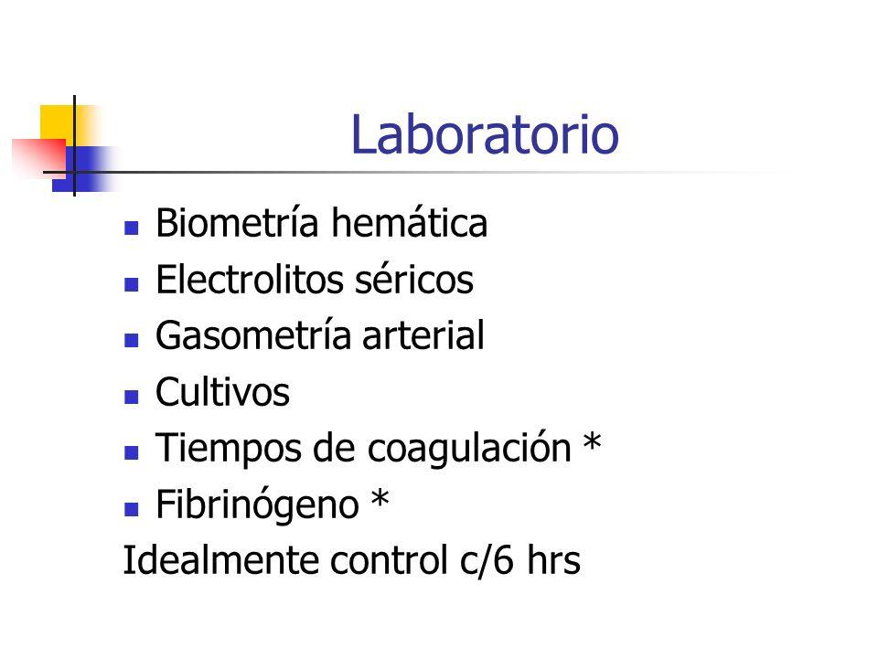 Laboratorio Biometría hemática Electrolitos séricos Gasometría arterial Cultivos Tiempos de coagulación * Fibrinógeno * Idealmente control c/6 hrs