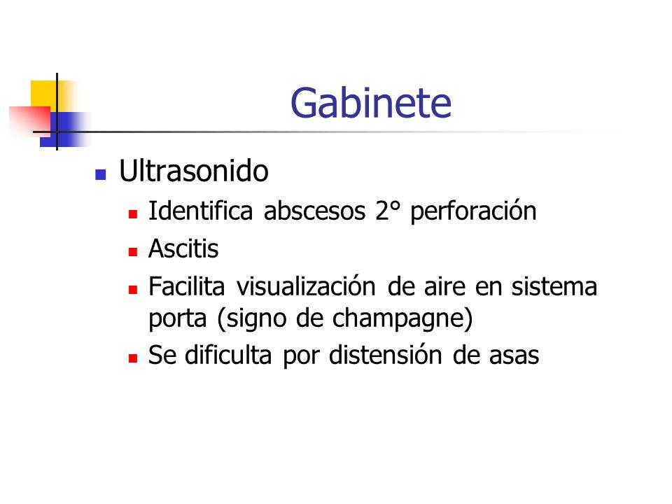 Gabinete Ultrasonido Identifica abscesos 2° perforación Ascitis Facilita visualización de aire en sistema porta (signo de champagne) Se dificulta por