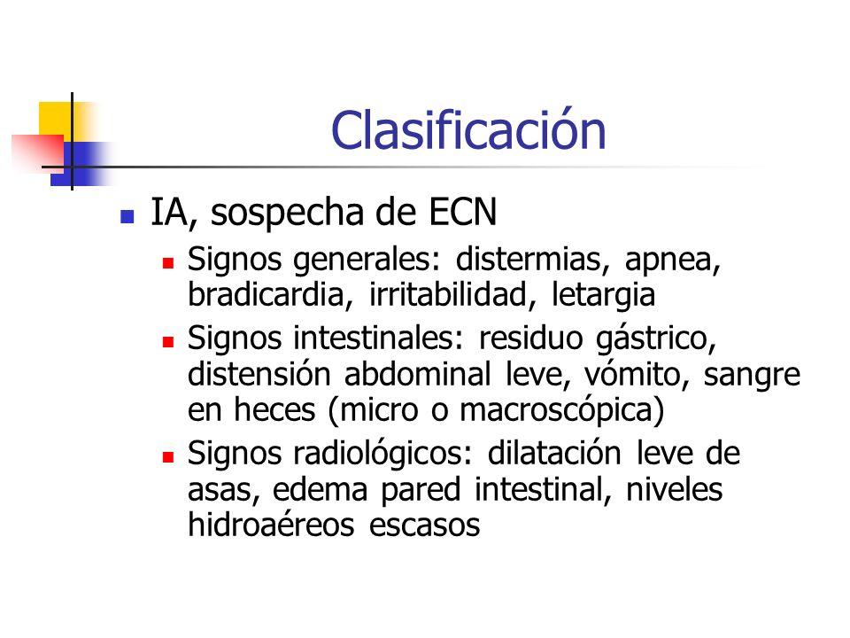 Clasificación IA, sospecha de ECN Signos generales: distermias, apnea, bradicardia, irritabilidad, letargia Signos intestinales: residuo gástrico, dis