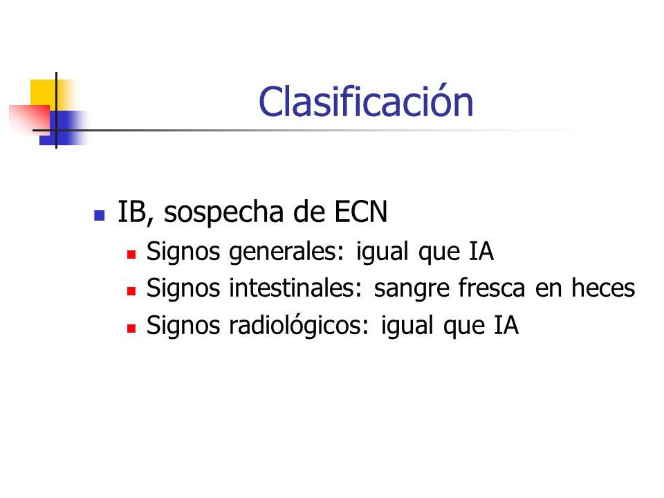 Clasificación IB, sospecha de ECN Signos generales: igual que IA Signos intestinales: sangre fresca en heces Signos radiológicos: igual que IA