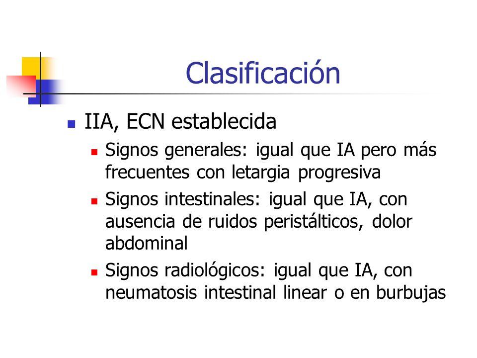 Clasificación IIA, ECN establecida Signos generales: igual que IA pero más frecuentes con letargia progresiva Signos intestinales: igual que IA, con a