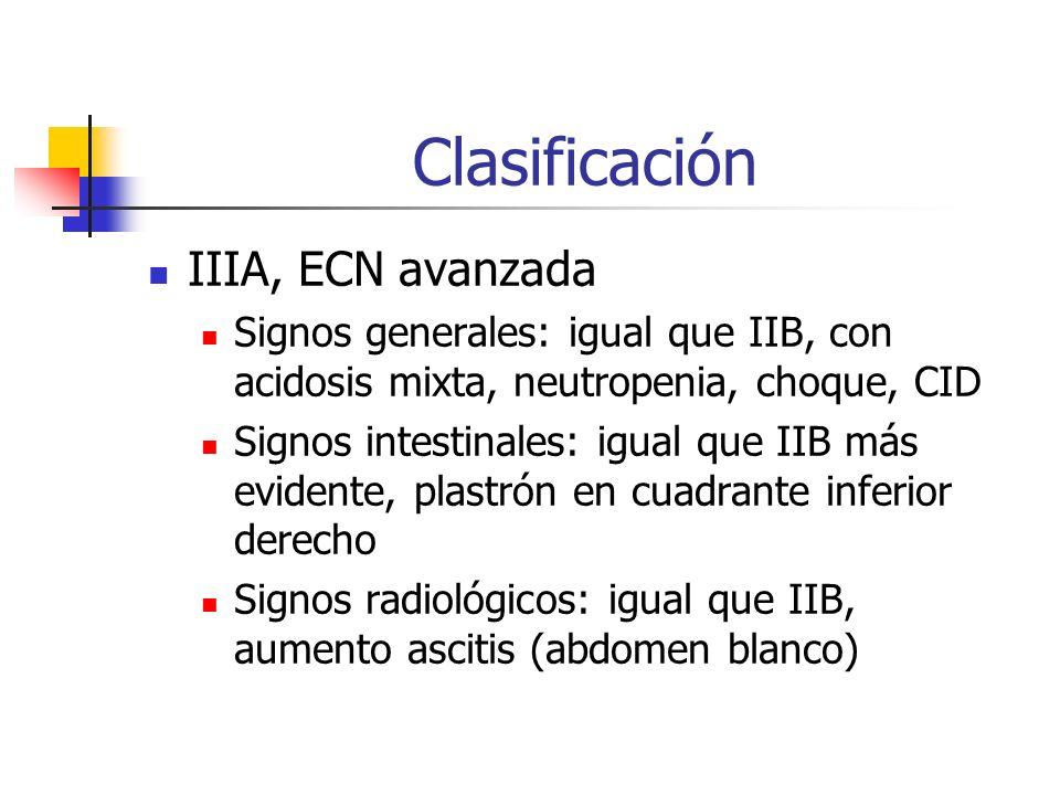 Clasificación IIIA, ECN avanzada Signos generales: igual que IIB, con acidosis mixta, neutropenia, choque, CID Signos intestinales: igual que IIB más