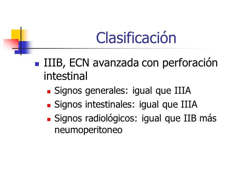 Clasificación IIIB, ECN avanzada con perforación intestinal Signos generales: igual que IIIA Signos intestinales: igual que IIIA Signos radiológicos:
