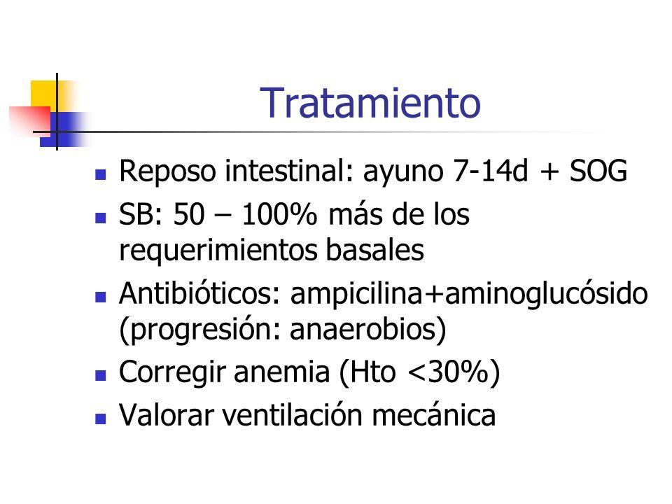 Tratamiento Reposo intestinal: ayuno 7-14d + SOG SB: 50 – 100% más de los requerimientos basales Antibióticos: ampicilina+aminoglucósido (progresión: