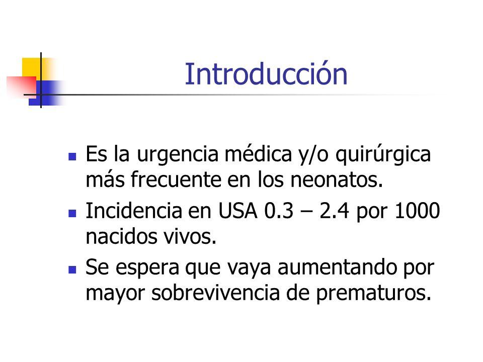 Introducción Es la urgencia médica y/o quirúrgica más frecuente en los neonatos. Incidencia en USA 0.3 – 2.4 por 1000 nacidos vivos. Se espera que vay