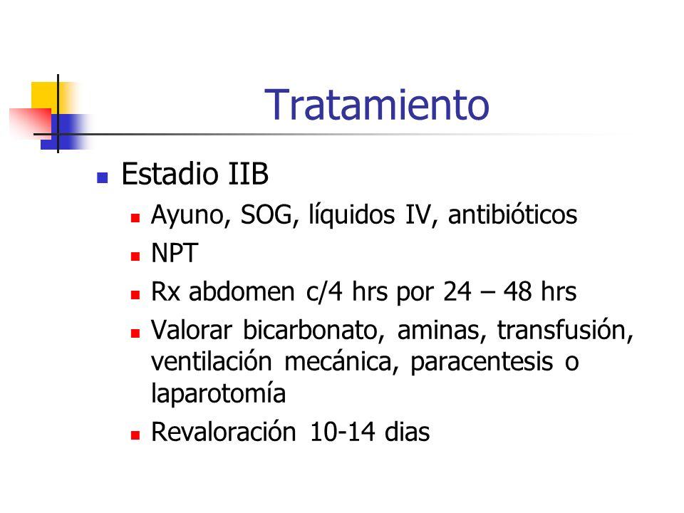 Tratamiento Estadio IIB Ayuno, SOG, líquidos IV, antibióticos NPT Rx abdomen c/4 hrs por 24 – 48 hrs Valorar bicarbonato, aminas, transfusión, ventila