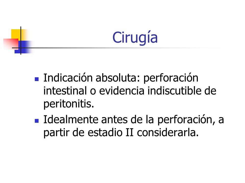 Cirugía Indicación absoluta: perforación intestinal o evidencia indiscutible de peritonitis. Idealmente antes de la perforación, a partir de estadio I