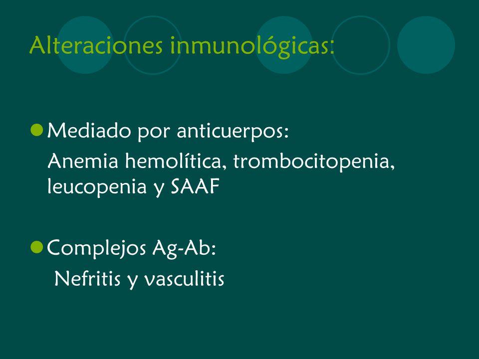 Alteraciones inmunológicas : Mediado por anticuerpos: Anemia hemolítica, trombocitopenia, leucopenia y SAAF Complejos Ag-Ab: Nefritis y vasculitis