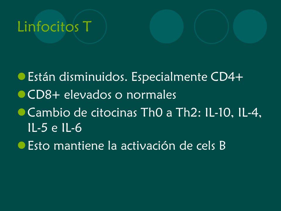 Linfocitos T Están disminuidos. Especialmente CD4+ CD8+ elevados o normales Cambio de citocinas Th0 a Th2: IL-10, IL-4, IL-5 e IL-6 Esto mantiene la a