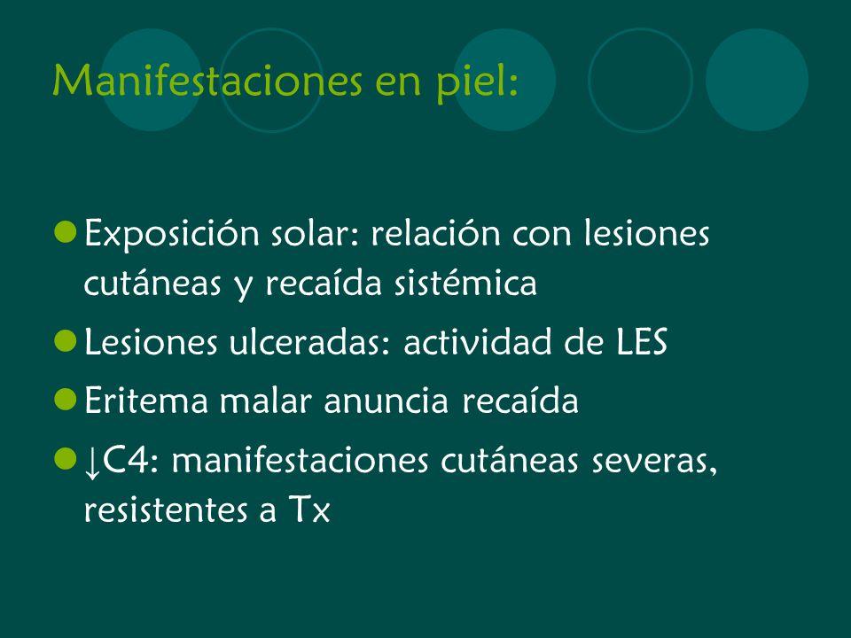 Manifestaciones en piel: Exposición solar: relación con lesiones cutáneas y recaída sistémica Lesiones ulceradas: actividad de LES Eritema malar anunc