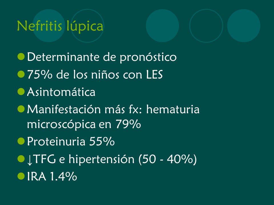 Nefritis lúpica Determinante de pronóstico 75% de los niños con LES Asintomática Manifestación más fx: hematuria microscópica en 79% Proteinuria 55% T