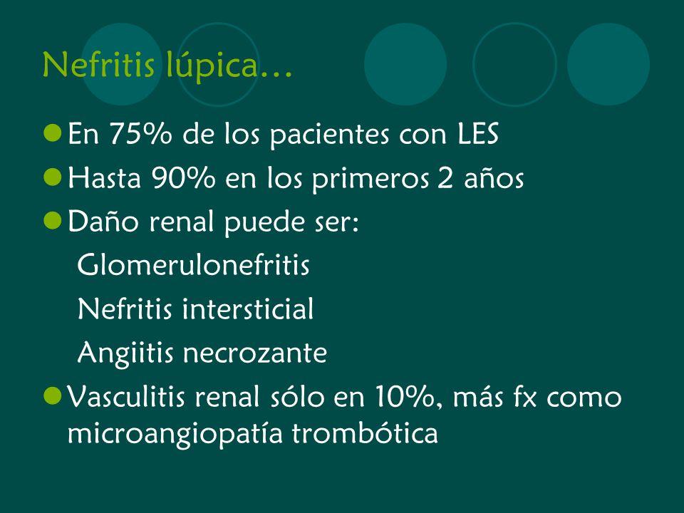Nefritis lúpica… En 75% de los pacientes con LES Hasta 90% en los primeros 2 años Daño renal puede ser: Glomerulonefritis Nefritis intersticial Angiit