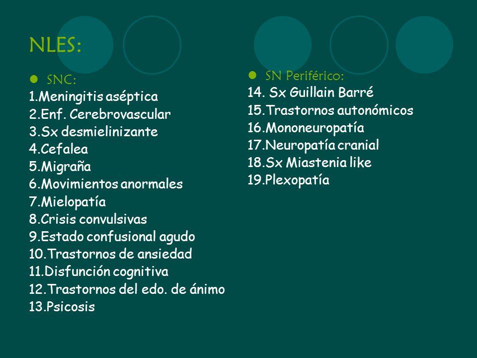 NLES: SNC: 1.Meningitis aséptica 2.Enf. Cerebrovascular 3.Sx desmielinizante 4.Cefalea 5.Migraña 6.Movimientos anormales 7.Mielopatía 8.Crisis convuls