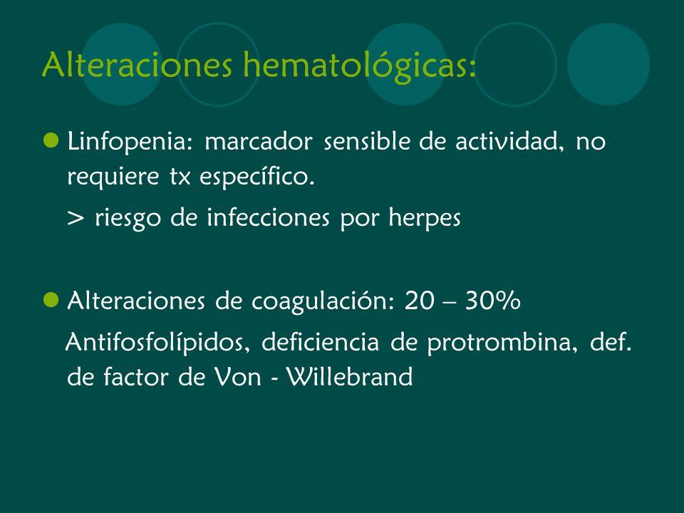 Alteraciones hematológicas: Linfopenia: marcador sensible de actividad, no requiere tx específico. > riesgo de infecciones por herpes Alteraciones de