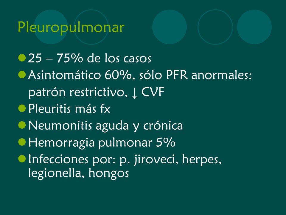 Pleuropulmonar 25 – 75% de los casos Asintomático 60%, sólo PFR anormales: patrón restrictivo, CVF Pleuritis más fx Neumonitis aguda y crónica Hemorra