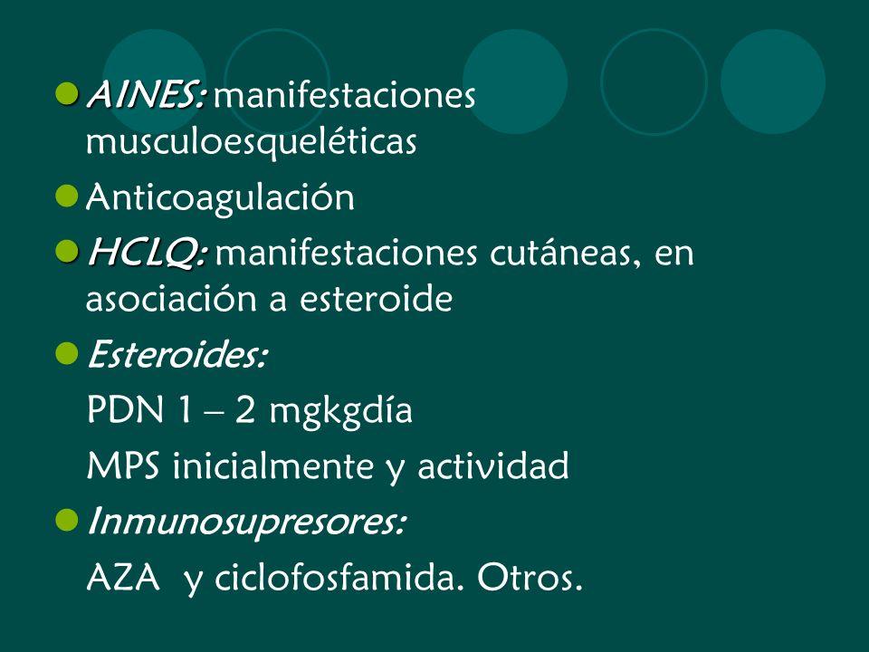 AINES: AINES: manifestaciones musculoesqueléticas Anticoagulación HCLQ: HCLQ: manifestaciones cutáneas, en asociación a esteroide Esteroides: PDN 1 –