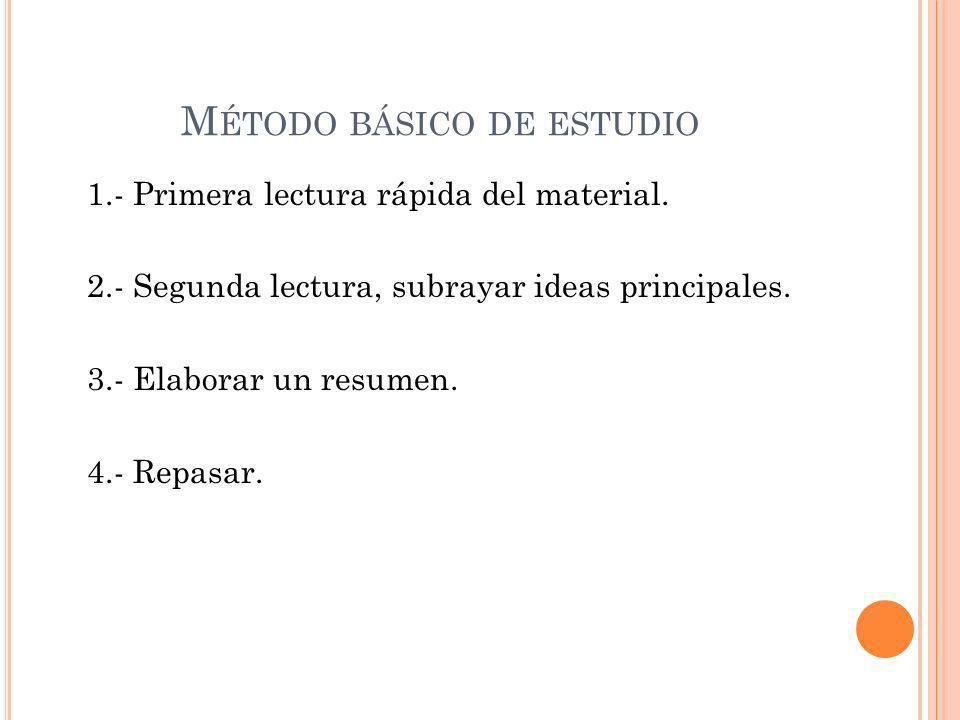 M ÉTODO BÁSICO DE ESTUDIO 1.- Primera lectura rápida del material.