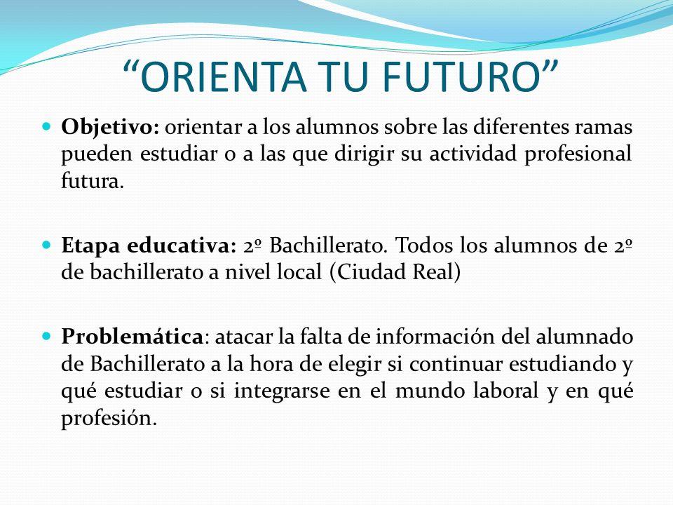 Objetivo: orientar a los alumnos sobre las diferentes ramas pueden estudiar o a las que dirigir su actividad profesional futura. Etapa educativa: 2º B