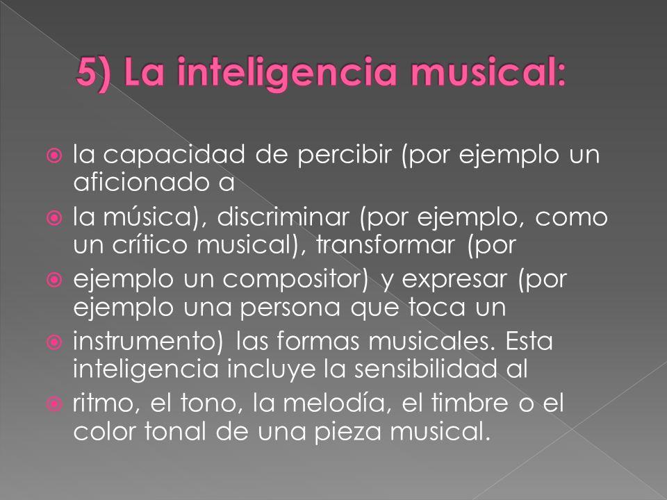 la capacidad de percibir (por ejemplo un aficionado a la música), discriminar (por ejemplo, como un crítico musical), transformar (por ejemplo un comp