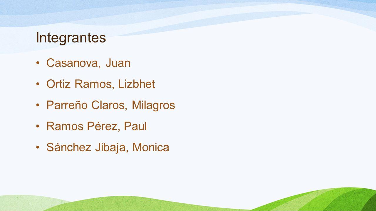 Integrantes Casanova, Juan Ortiz Ramos, Lizbhet Parreño Claros, Milagros Ramos Pérez, Paul Sánchez Jibaja, Monica