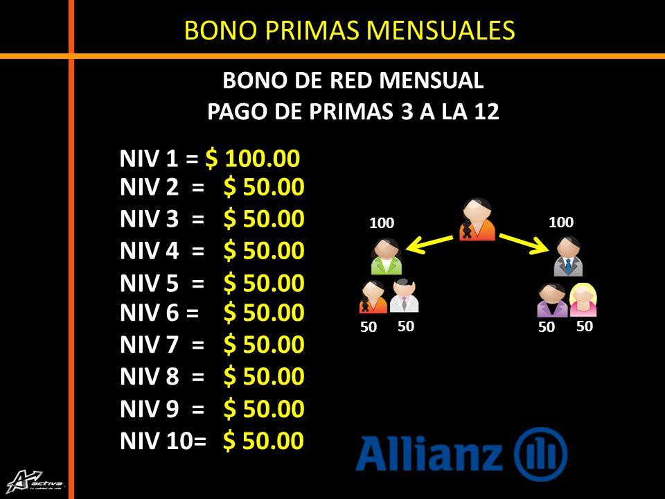 PRIMA 2 $ 250.00 PRIMA 3 A LA 12 $ 100.00 APLICA RENOVACIÓN ANUAL Únicamente pago de prima 1 y 2 del primer nivel.