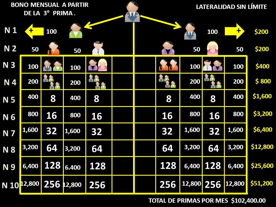 NIV 1 = $ 100.00 BONO DE RED MENSUAL PAGO DE PRIMAS 3 A LA 12 BONO PRIMAS MENSUALES NIV 2 = $ 50.00 NIV 3 = $ 50.00 NIV 4 = $ 50.00 NIV 5 = $ 50.00 100 50 NIV 6 = $ 50.00 NIV 7 = $ 50.00 NIV 8 = $ 50.00 NIV 9 = $ 50.00 NIV 10= $ 50.00