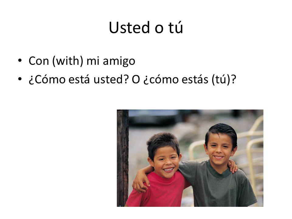 Usted o tú Con (with) mi amigo ¿Cómo está usted O ¿cómo estás (tú)