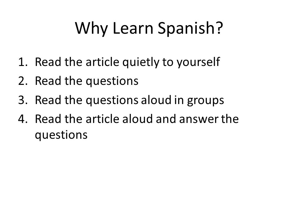 Why Learn Spanish.