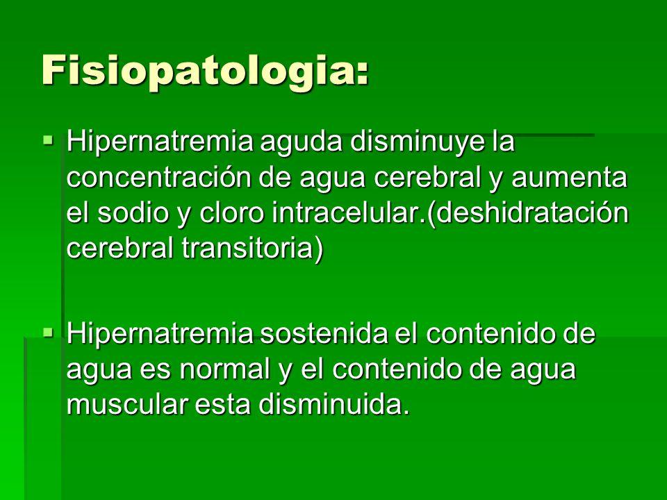 Fisiopatologia: Hipernatremia aguda disminuye la concentración de agua cerebral y aumenta el sodio y cloro intracelular.(deshidratación cerebral trans