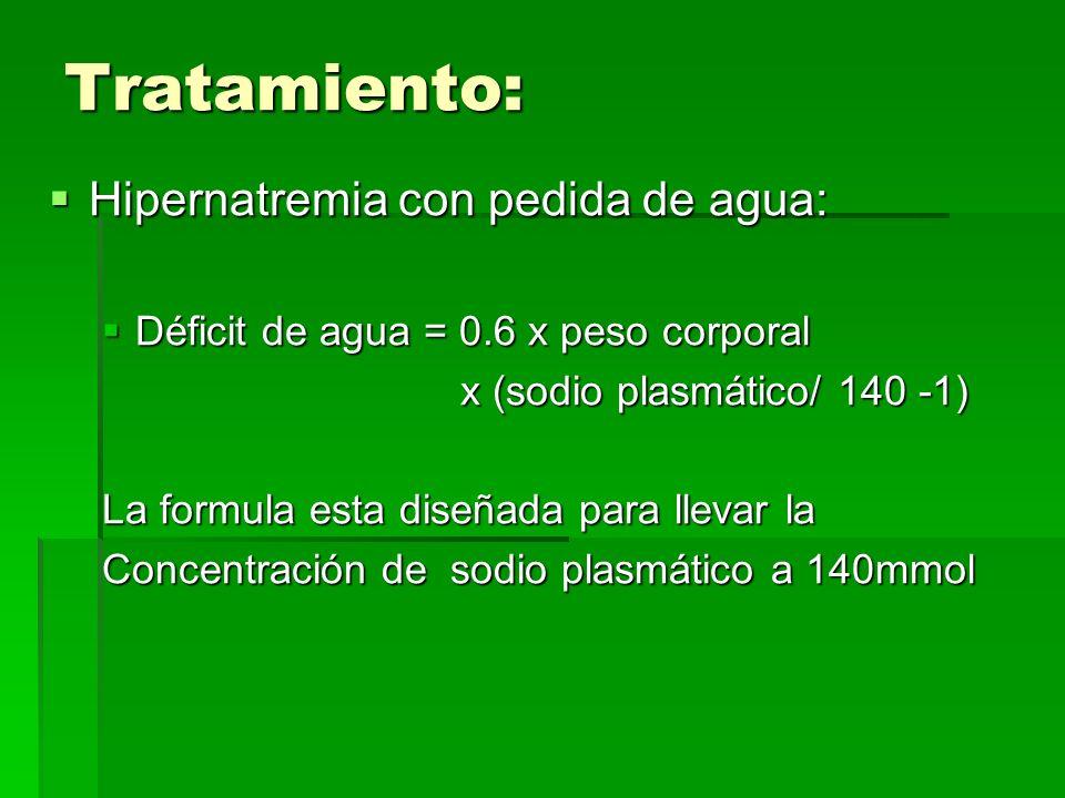 Tratamiento: Hipernatremia con pedida de agua: Hipernatremia con pedida de agua: Déficit de agua = 0.6 x peso corporal Déficit de agua = 0.6 x peso corporal x (sodio plasmático/ 140 -1) x (sodio plasmático/ 140 -1) La formula esta diseñada para llevar la Concentración de sodio plasmático a 140mmol