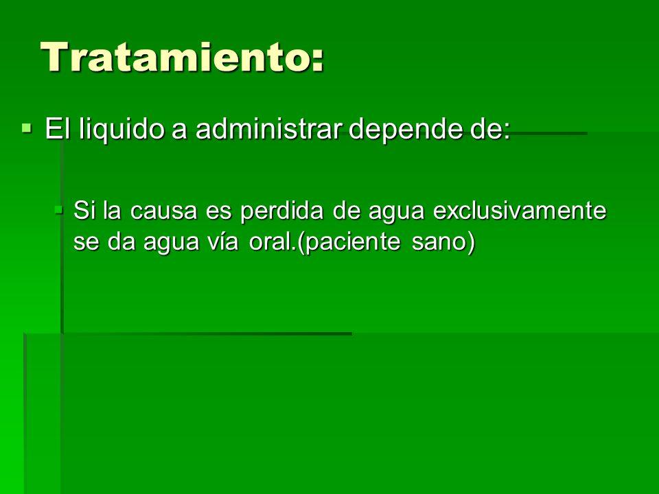 Tratamiento: El liquido a administrar depende de: El liquido a administrar depende de: Si la causa es perdida de agua exclusivamente se da agua vía or