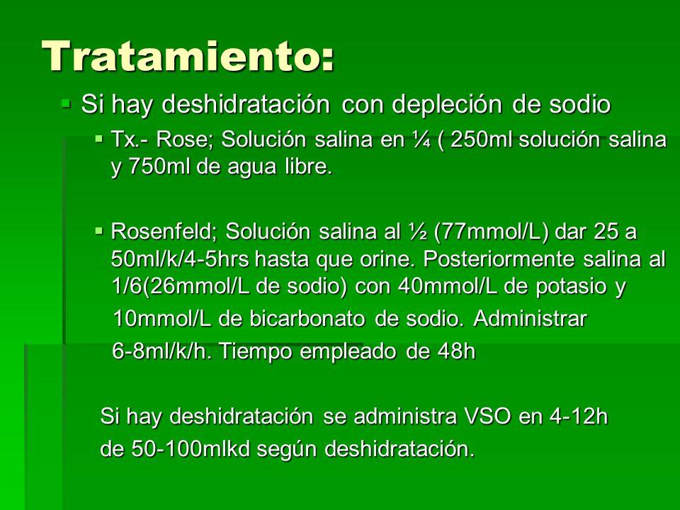Tratamiento: Si hay deshidratación con depleción de sodio Si hay deshidratación con depleción de sodio Tx.- Rose; Solución salina en ¼ ( 250ml solución salina y 750ml de agua libre.
