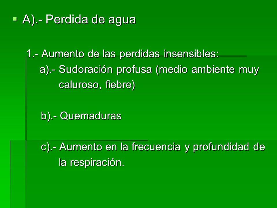 A).- Perdida de agua A).- Perdida de agua 1.- Aumento de las perdidas insensibles: a).- Sudoración profusa (medio ambiente muy caluroso, fiebre) caluroso, fiebre) b).- Quemaduras b).- Quemaduras c).- Aumento en la frecuencia y profundidad de c).- Aumento en la frecuencia y profundidad de la respiración.