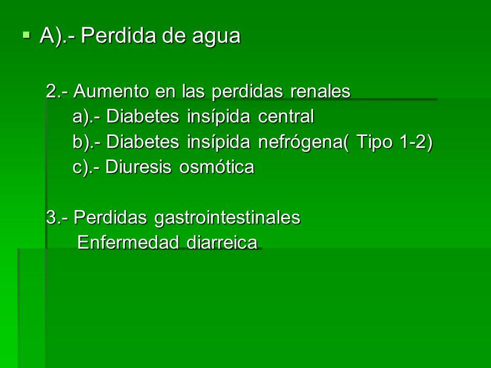 A).- Perdida de agua A).- Perdida de agua 2.- Aumento en las perdidas renales a).- Diabetes insípida central a).- Diabetes insípida central b).- Diabetes insípida nefrógena( Tipo 1-2) b).- Diabetes insípida nefrógena( Tipo 1-2) c).- Diuresis osmótica c).- Diuresis osmótica 3.- Perdidas gastrointestinales Enfermedad diarreica Enfermedad diarreica