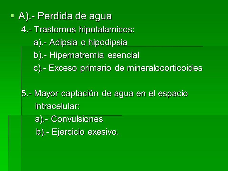 A).- Perdida de agua A).- Perdida de agua 4.- Trastornos hipotalamicos: a).- Adipsia o hipodipsia a).- Adipsia o hipodipsia b).- Hipernatremia esencial b).- Hipernatremia esencial c).- Exceso primario de mineralocorticoides c).- Exceso primario de mineralocorticoides 5.- Mayor captación de agua en el espacio intracelular: intracelular: a).- Convulsiones a).- Convulsiones b).- Ejercicio exesivo.